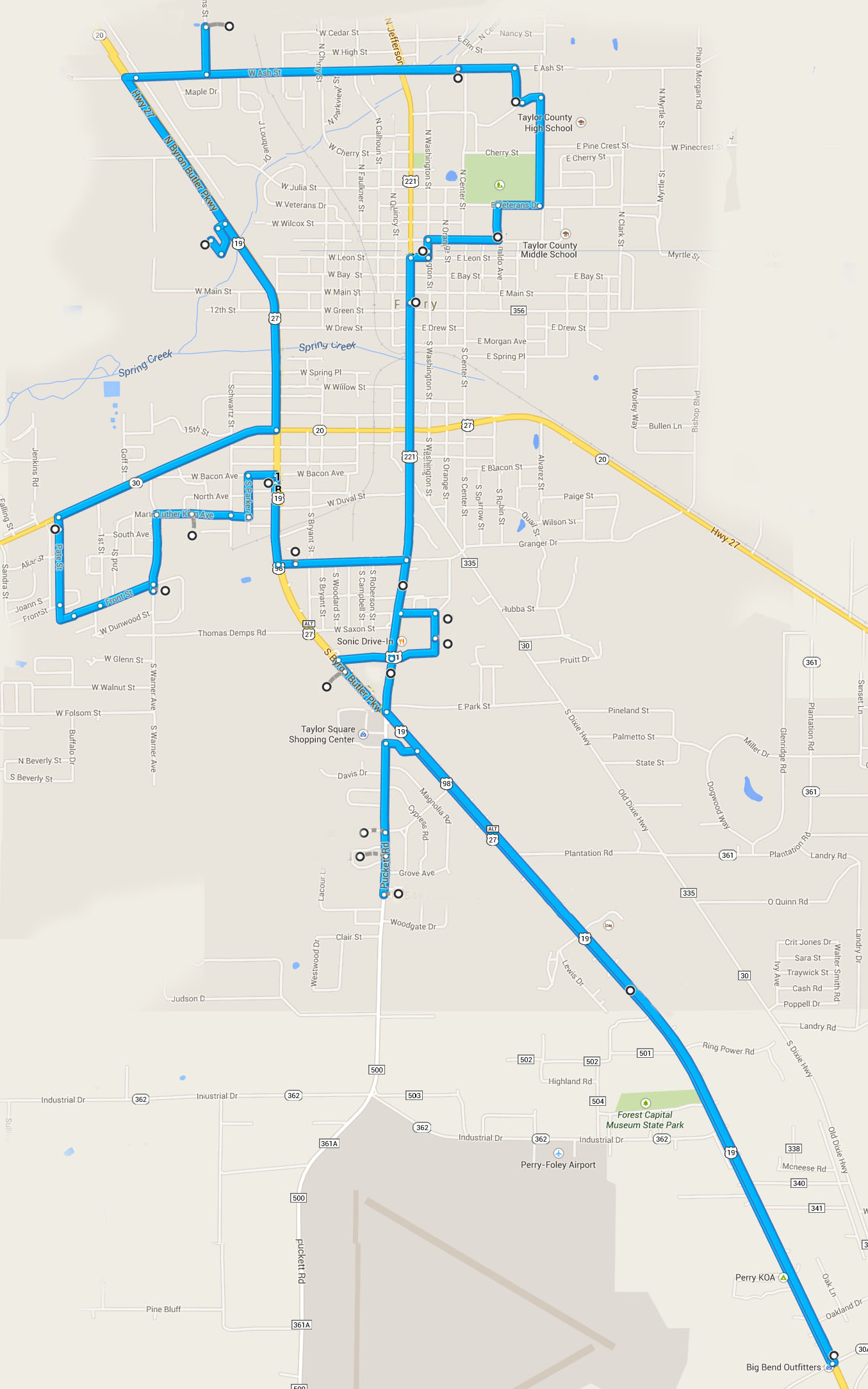 Route Map for TAYLOR COUNTY Shuttle